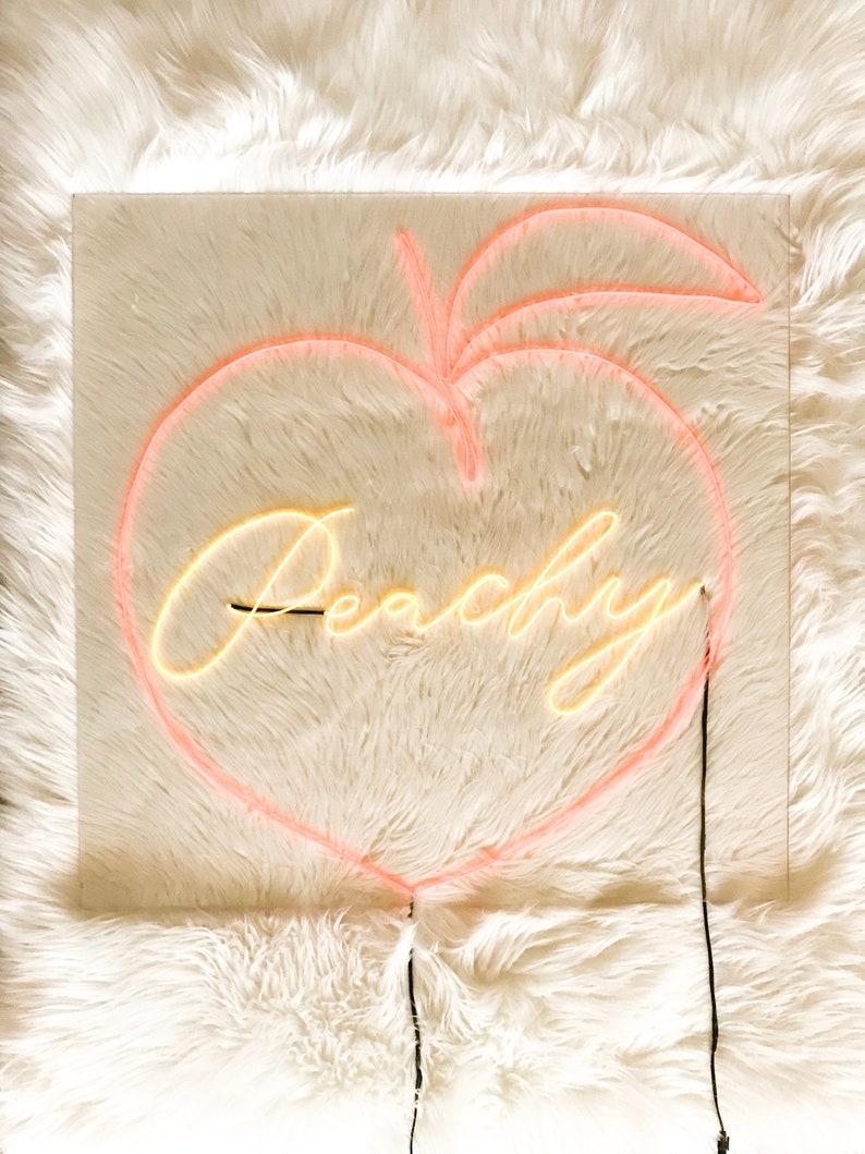 Peachy Neon Sign   24 in x 24 in   Custom Handmade