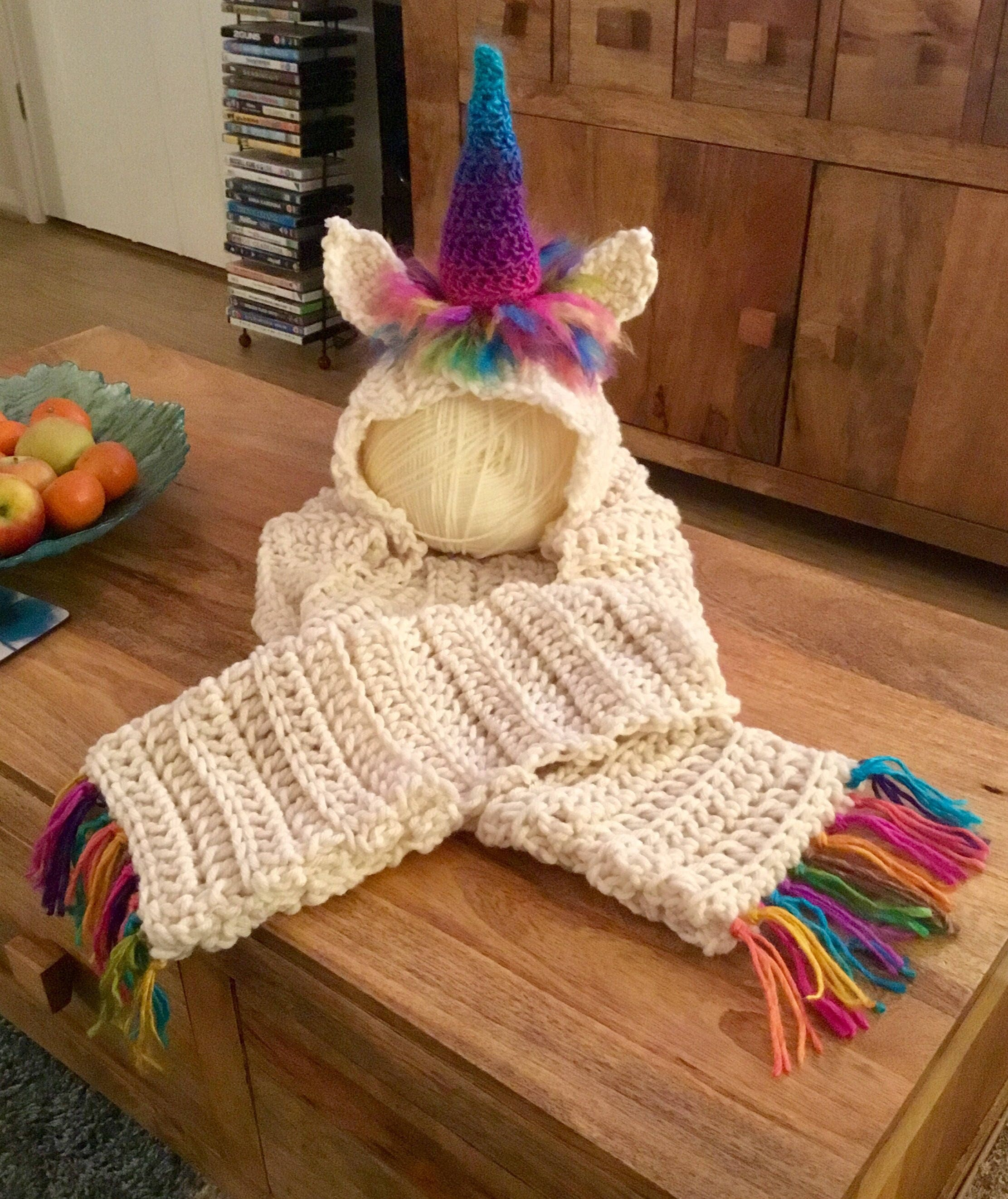 Unicorn hat scarf set.  7c9f95accf1