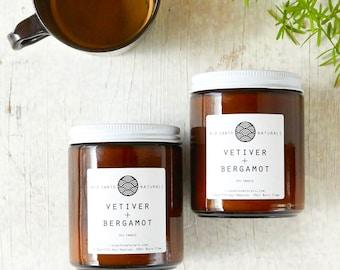 Vetiver + Bergamot - Natural Scented Soy Candle