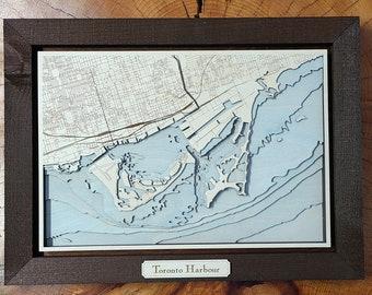 "Toronto Harbour 3D Bathymetric Map - 15"" x 20"""