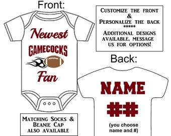 ebb85509e Newest Gamecocks Fan Custom Made Personalized Football Gerber Onesie Jersey  Choose Name Number Great New Baby Shower Gift