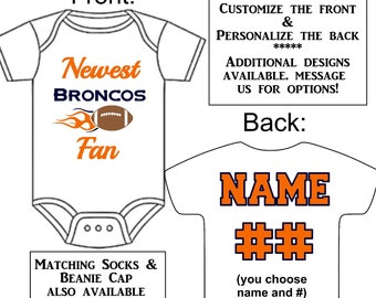 Newest Broncos Fan Custom Made Personalized Gerber Onesie Football Jersey +  Optional Socks Beanie Hat Great Baby Gift Reveal Announcement be446b69d