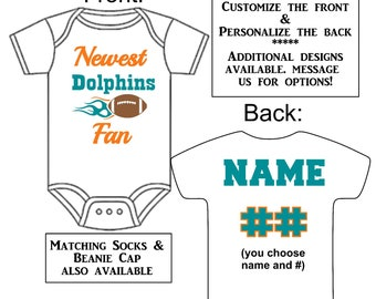 Newest Dolphins Fan Custom Made Personalized Gerber Onesie Football Jersey  + Optional Socks Beanie Hat Great Baby Gift Reveal Announcement ed0b3f450