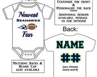 f3b6fd877 Newest Seahawks Fan Custom Made Personalized Gerber Onesie Football Jersey  + Optional Socks Beanie Hat Great Baby Gift Reveal Announcement