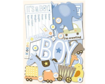 Scrapbook Die Cuts - K&Company Itsy Bitsy Baby Boy - 144 Cardstock Die Cuts with Glitter Accents