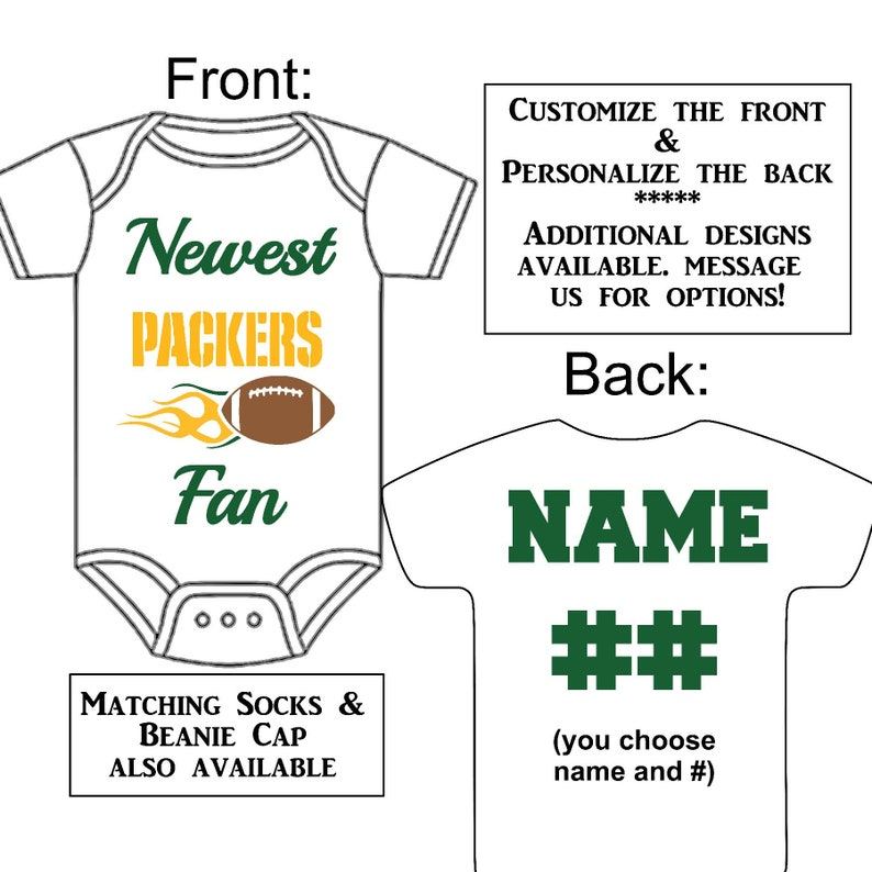 39eae83491b Newest Packers Fan Custom Made Personalized Gerber Onesie