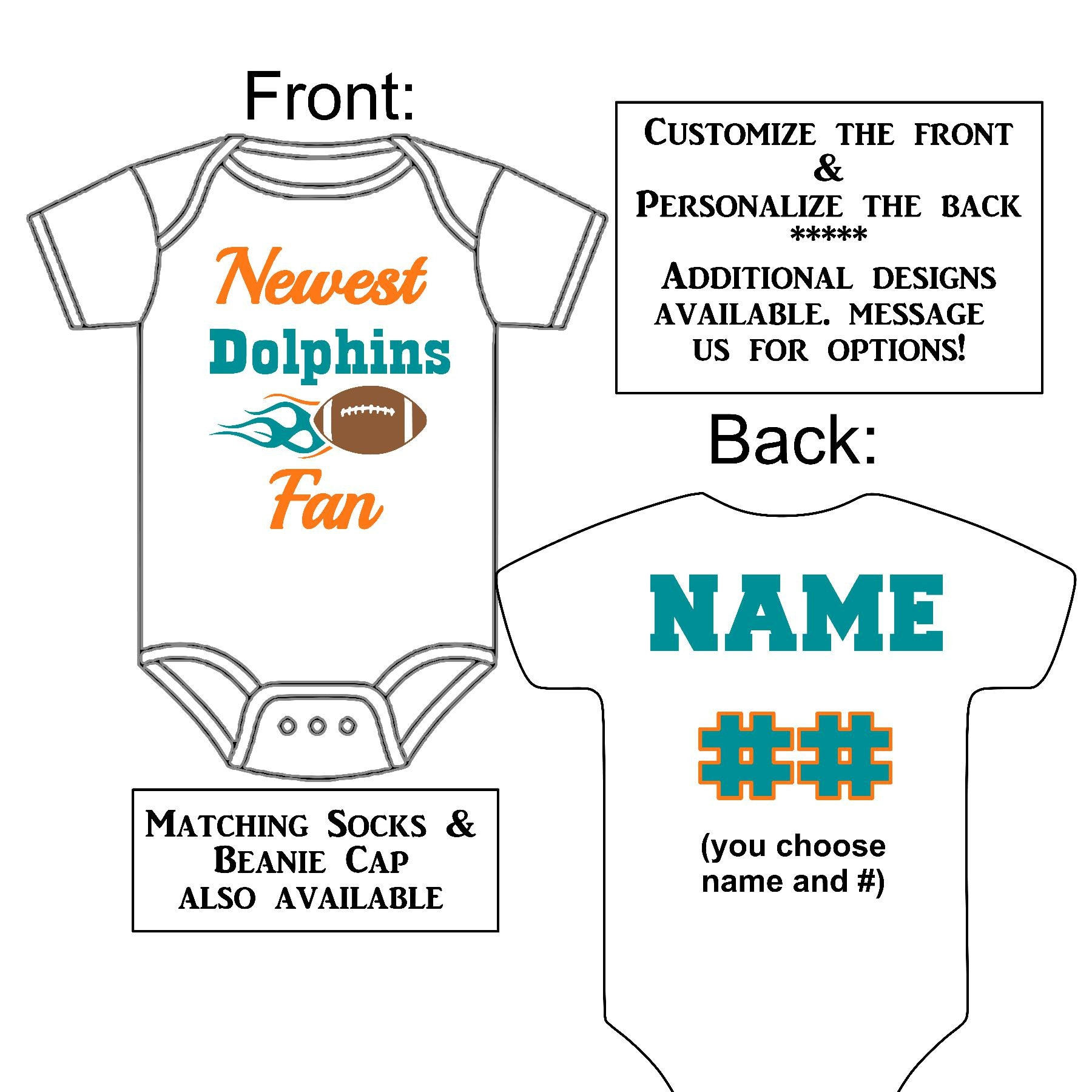 Newest Dolphins Fan Custom Made Personalized Gerber Onesie  d840ad6a9