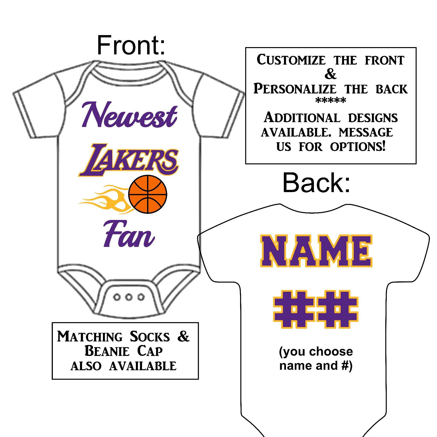 b4943ca4dbbd Newest Lakers Fan Custom Made Personalized Basketball Gerber