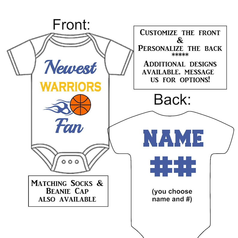 2a620994 Newest Warriors Fan Custom Made Personalized Basketball Gerber   Etsy