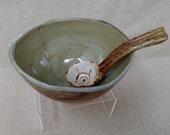 Handmade bowl with ladle
