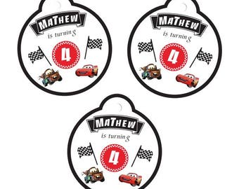 Cars Disney Thank You Tags Candy Bag Tags Kids Goodie Bag Tags Disney Cars Birthday Party Cars Movie Decorations