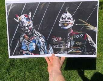 "Kill Somebody. Twiztid. 11 x 17"" print, bag and board."