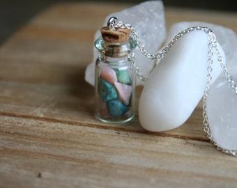 Heart Crystal Healing Jar Necklace