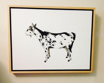 goat oil painting, black and white goat, framed goat painting