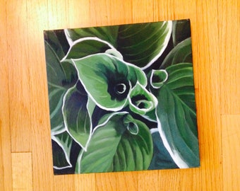 hosta oil painting, oil painting looking down on hosta, aerial view of hosta, hosta painting