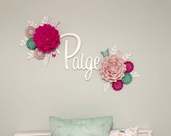 Eight pink and blue nursery wall flowers. 3D large paper flowers for wall. Girl's room decor pink and mint/blue. Babyshower wall backdrop.