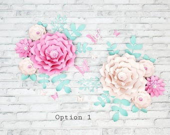 Eight pink and mint nursery flowers. 3D large pink paper flowers for wall inspired by Peanut Shell. Girl's room wall floral decor.