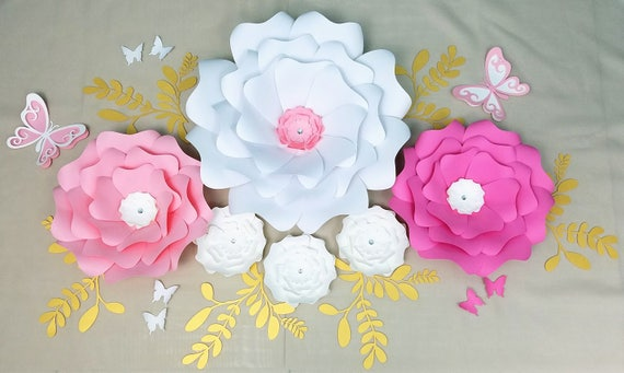 Paper flowers wall decor large paper flowers wall nursery etsy paper flowers wall decor large paper flowers wall nursery large flowers wall baby shower backdrop white pink gold flowers wall sale mightylinksfo