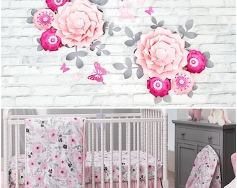 Pink and gray floral nursery wall decor. Light and dark pink wall paper flowers. Girl's room decor. Baby shower flowers backdrop pink.