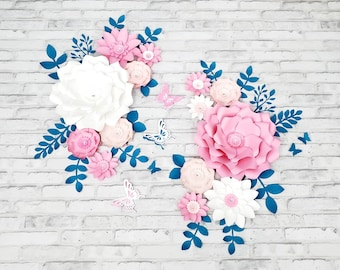 Fourteen pink, white and teal nursery wall flowers. 3D large paper flowers for wall. Girl's room wall floral decor pink and teal.