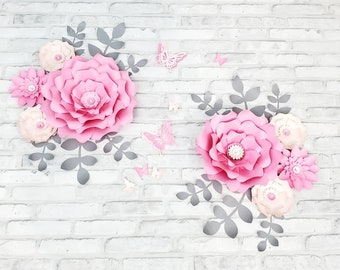 Eight pink and gray nursery flowers. 3D large pink paper flowers for nursery wall. Girl's room wall floral decor.