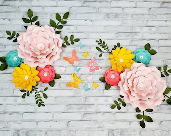 Eight pink, coral and teal nursery flowers. 3D large paper flowers for wall inspired by Floral Field by Cloud Island. Girl's room wall decor