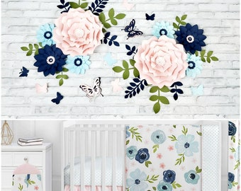 Eight navy and pink paper flowers wall decor. Nursery pink, navy and light blue flowers for wall. Girl's room floral decor in navy and pink.