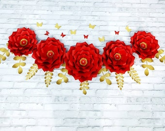 Large red and gold flowers for backdrop and wall decor. Red backdrop Sweets table paper flowers. Bridal shower red and gold flowers backdrop