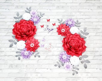 Fourteen large red, purple and white paper flowers wall decor. Nursery red and purple flowers for wall. Baby shower backdrop paper flowers.