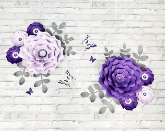 Purple large flowers nursery wall. Large purple floral wall decor. Girls room purple paper flowers for wall. Home wall decor lavender.