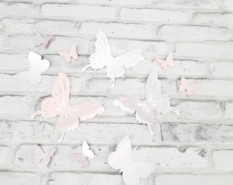 Eleven pink, white and lavender butterflies nursery decor. Girl's room wall butterflies in purple, pink and white.