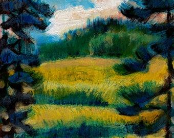 Oleskiw Park Edmonton by Dennis Weber of ShreddyStudio / 8x10 painting summer landscape impressionist Edmonton art