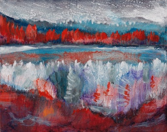 Fall Frost by Dennis Weber of ShreddyStudio / 8x10 painting lakeside forest painting of autumn hoarfrost / canvas painting