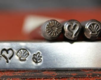 5mm Sun, Open Ended Heart, Seashell and Plant Metal Design 4 Stamp Set - Steel Stamp - SGT33U21M40F28