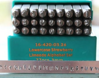 3mm Strawberry Limeade Font Lowercase Metal Stamp Letter Set - Supply Guy Stamp - SGCH-STRAWL3MM