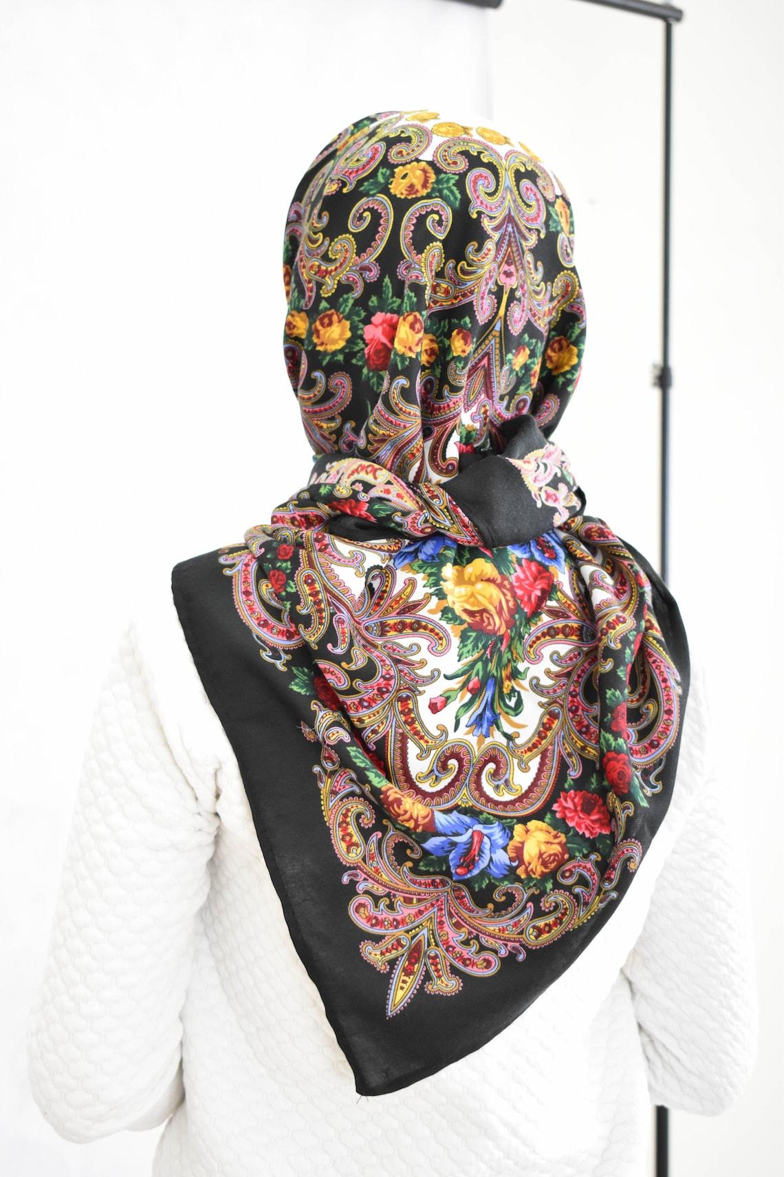39 Original Russian Woolen Shawl Russian babushka scarf image 4