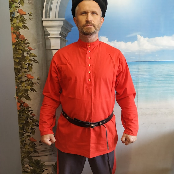 Red cossack cotton shirt Kosovorotka cossack tradi
