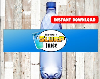 Fortnite birthday SLURP JUICE printable bottle wraps water ...