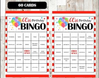 60th Birthday Party Bingo Game