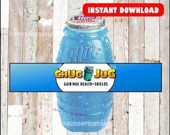 picture about Chug Jug Printable referred to as Fortnite Birthday Bash Chug Jug Printable Bottle Wraps