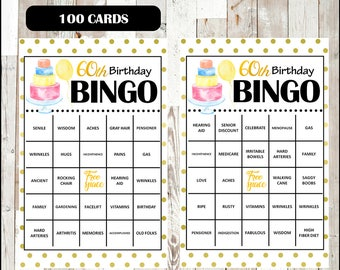 60th birthday party bingo game 100 different cards old age etsy