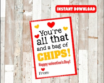 picture relating to You're All That and a Bag of Chips Free Printable known as Hojuelitas chip Etsy