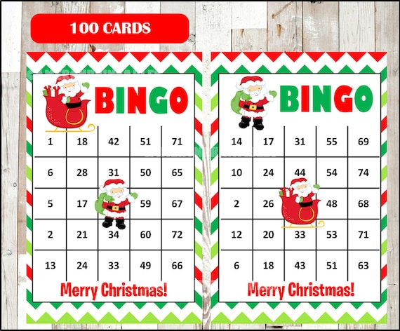 image about Printable Christmas Bingo Cards titled Printable 100 Santa Bingo Playing cards, printable Xmas Bingo sport, Xmas printable bingo playing cards, quick obtain