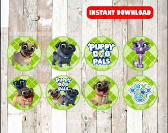 Puppy Dog Pals toppers instant download , Puppy Dog Pals cupcakes toppers labels, Printable Puppy Dog Pals party toppers