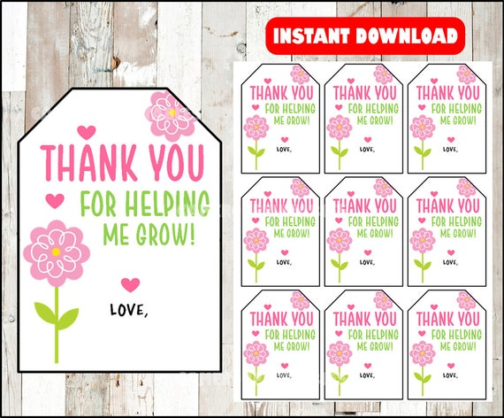 Teacher Appreciation Thank You For Helping Me Grow End Of Etsy