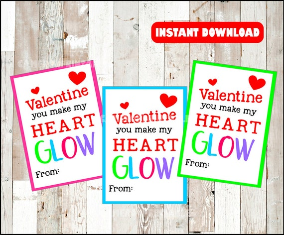 photograph regarding You Make My Heart Glow Printable named By yourself Deliver My Center Shine Neon Valentine for Shine Adhere Social gathering Want Tag Card Printable for Faculty Clroom Substitute Fast Obtain