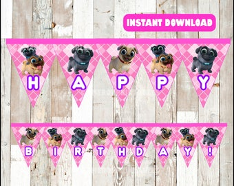 Puppy Dog Pals banner instant download , Puppy Dog Pals triangle banner, Printable Puppy Dog Pals Party banner