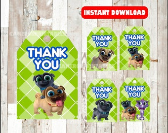 Puppy Dog Pals Thank you Tags instant download , Puppy Dog Pals Thank you Tags, Printable Puppy Dog Pals party tags