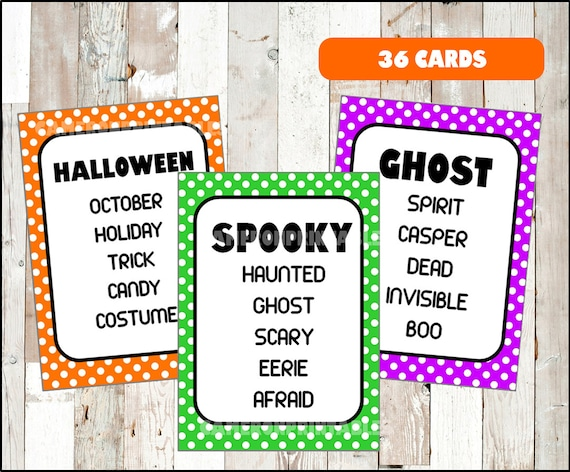 Halloween Taboo Fun Party Game For Kids Teens And Adults Etsy
