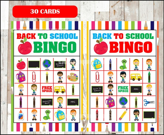 image relating to Back to School Bingo Printable identified as Back again toward College Bingo Activity - Printable - 30 choice Playing cards - Occasion Sport Printable - 50 % Web page Dimension - Fast Down load
